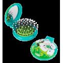 Haarbürste mit Spiegel 2 in 1 - Lady Retro Blue Flower