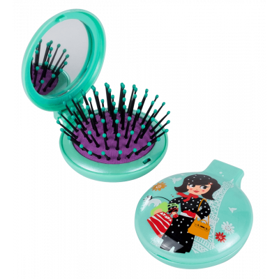 2 in 1 hairbrush and mirror - Lady Retro - Parisienne