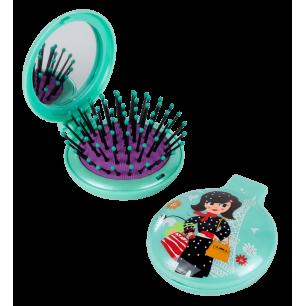 Haarbürste mit Spiegel 2 in 1 - Lady Retro - Parisienne