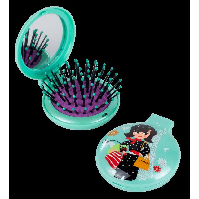 Haarbürste mit Spiegel 2 in 1 - Lady Retro Parisienne