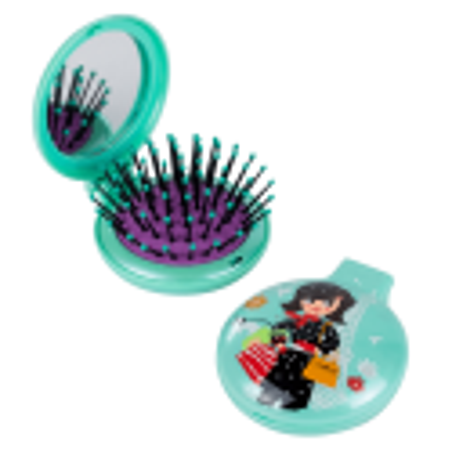 Lady Retro - Brosse à cheveux miroir 2 en 1