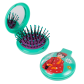 2 in 1 hairbrush and mirror - Lady Retro Blue Flower