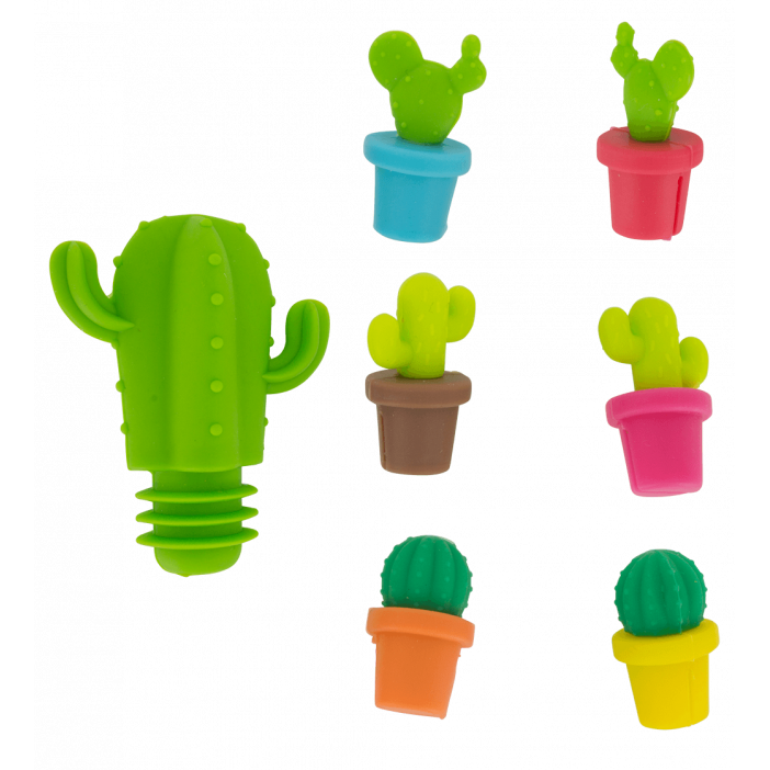 Cactus - Glass markers and stopper