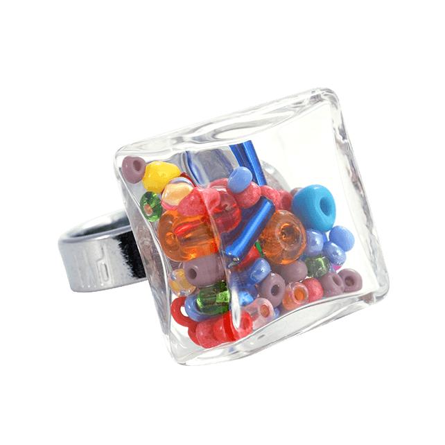 Glasring - Carré Medium Mix Perles Multicolor