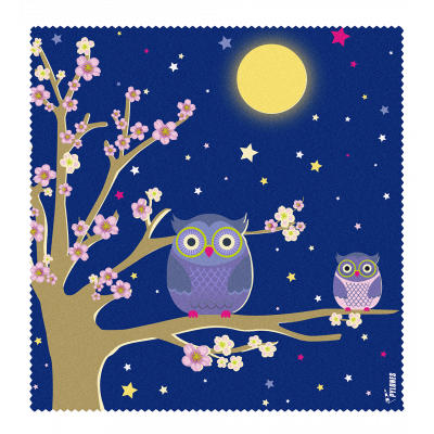 Microfibre cloth for glasses - Belle Vue - Blue Owl