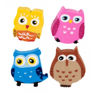 Set of 4 erasers - Owleraser