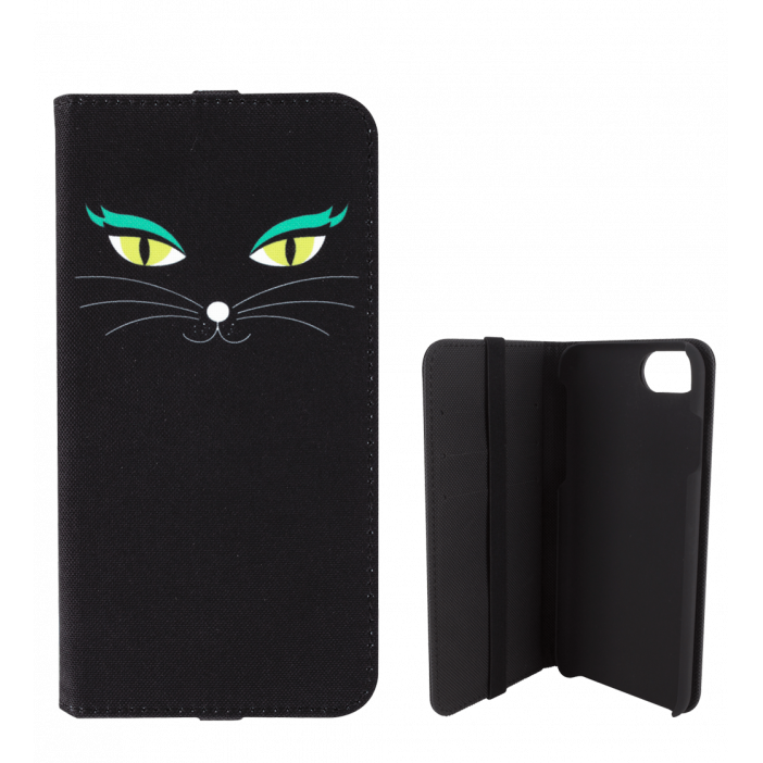 Flap cover/wallet case for iPhone 5/5E - iWallet Black Cat