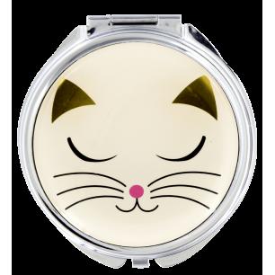 Pocket mirror - Lady Look - White Cat
