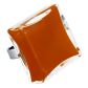 Bague en verre soufflée - Carré Giga Milk Orange