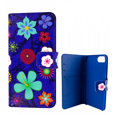 Flap cover/wallet case for iPhone 6 Plus, 7 Plus  - Iwallet - Blue Flower