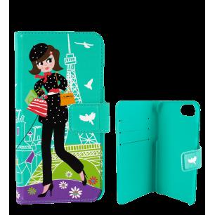 Flap cover/wallet case for iPhone 6 Plus, 7 Plus  - Iwallet - Parisienne