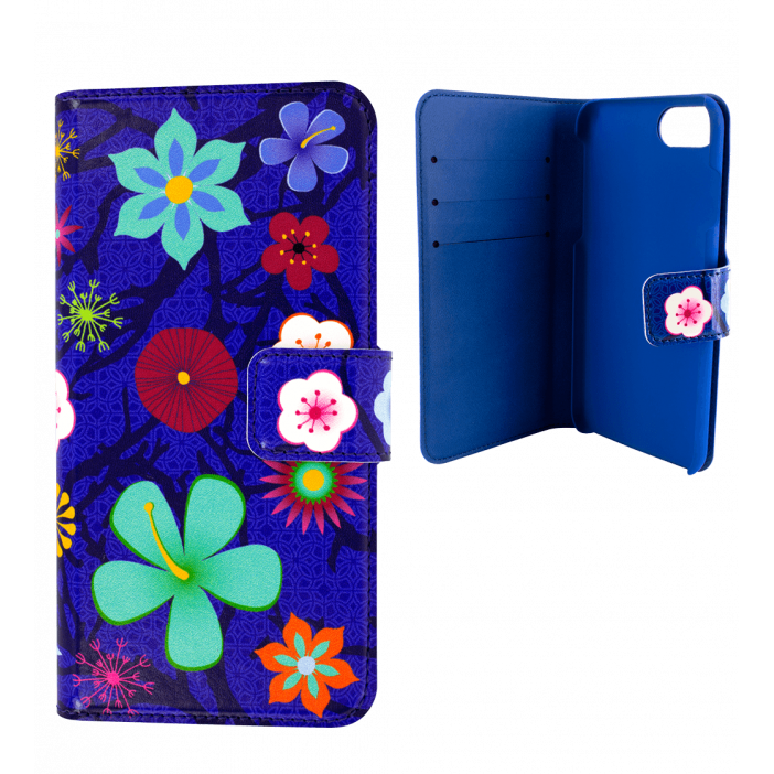 Flap cover/wallet case for iPhone 6, 6S, 7 - Iwallet 2 Blue Flower