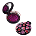 Spazzola per capelli con specchio - Lady Retro Black Cat