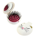 2 in 1 hairbrush and mirror - Lady Retro White Cat
