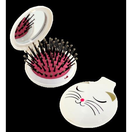 Spazzola per capelli con specchio - Lady Retro White Cat