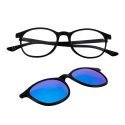 Glasses with clip-on sun lenses
