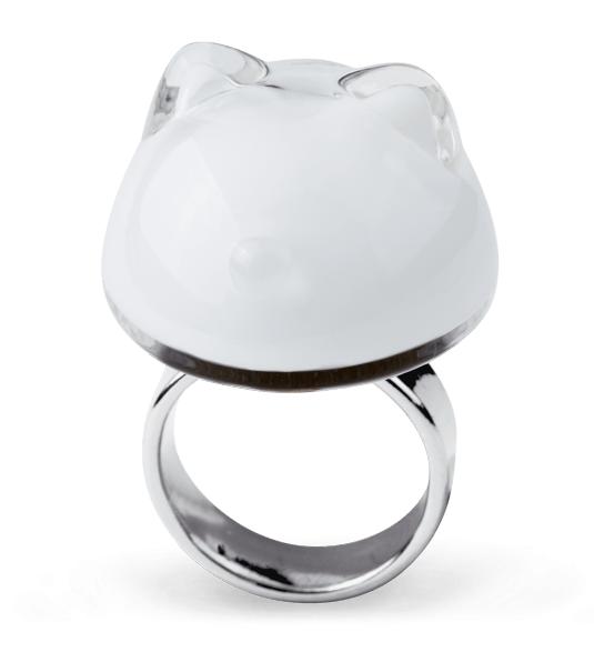 Chat Milk - Bague en verre Blanc