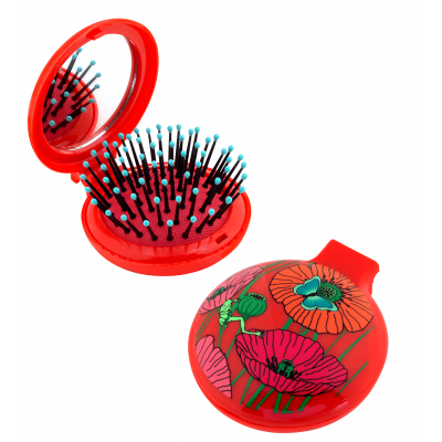 2 in 1 hairbrush and mirror - Lady Retro - Coquelicots