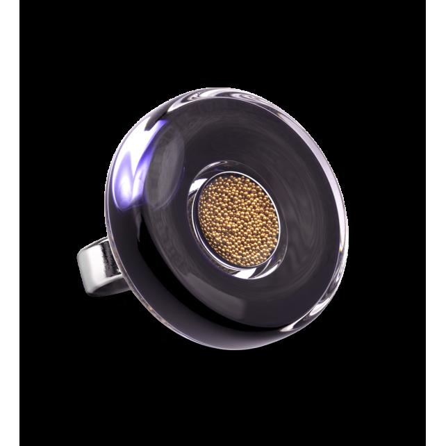 Glass ring - Duo Medium Black / Gold
