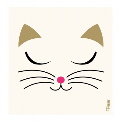 Microfibre cloth for glasses - Belle Vue - White Cat