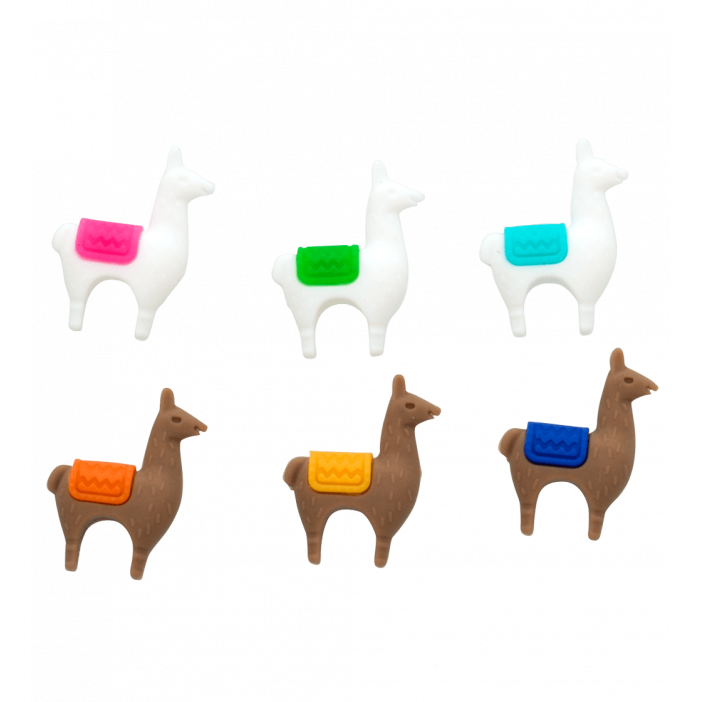 Set of 6 glass markers - Lama Llama