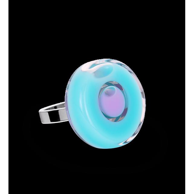 Glass ring - Duo Mini Blue lagoon