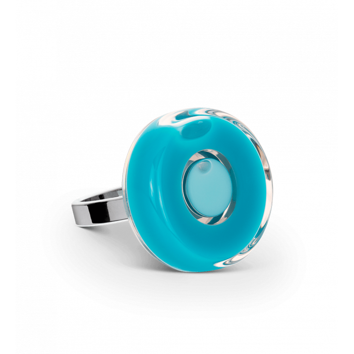 Glass ring - Duo Mini Turquoise