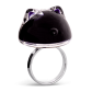 Bague en verre - Chat Bulle Medium Milk Noir