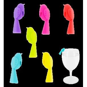 Set di 6 segnabicchieri - Happy Markers - Pulcino