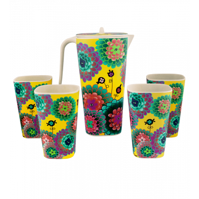 Pitcher and 4 tumbler - Provencale