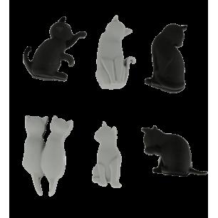 Set de 6 marqueurs de verre - Happy Markers - Chat noir et gris