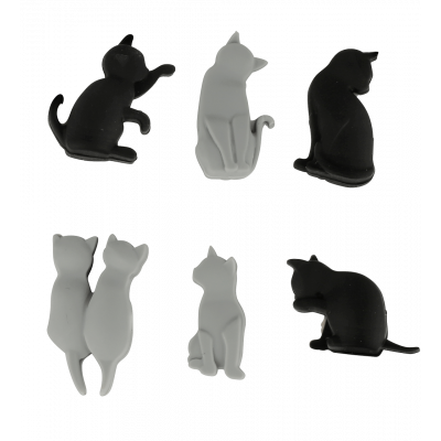 Set of 6 glass markers - Happy Markers - Chat Noir et Gris