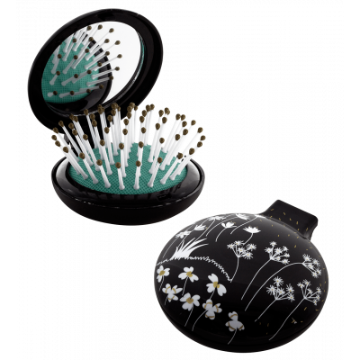 2 in 1 hairbrush and mirror - Lady Retro - Black Board