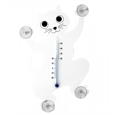 Thermometer - Thermo - Weiße Katze