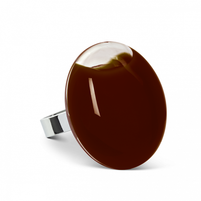 Galet Giga Milk - Bague en verre Chocolate