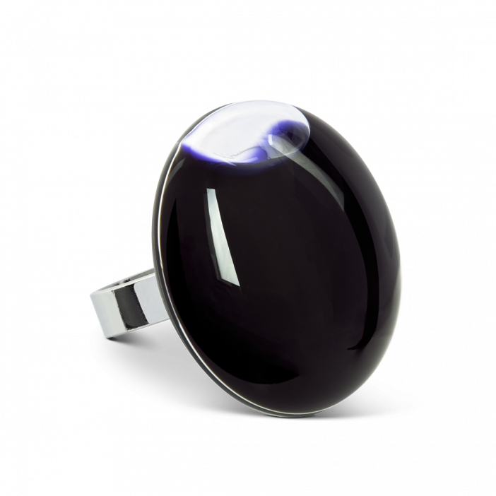 Glass ring - Galet Giga Milk Black