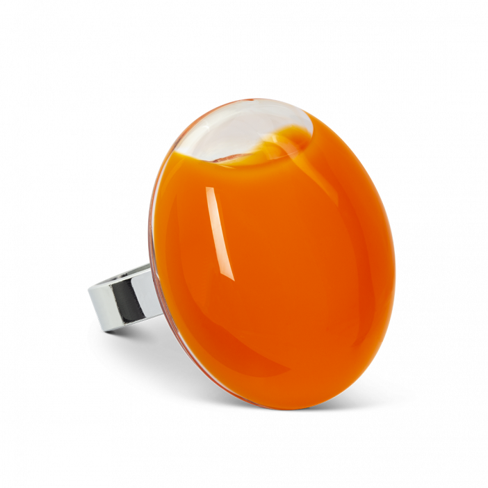 Galet Giga Milk - Bague en verre Orange