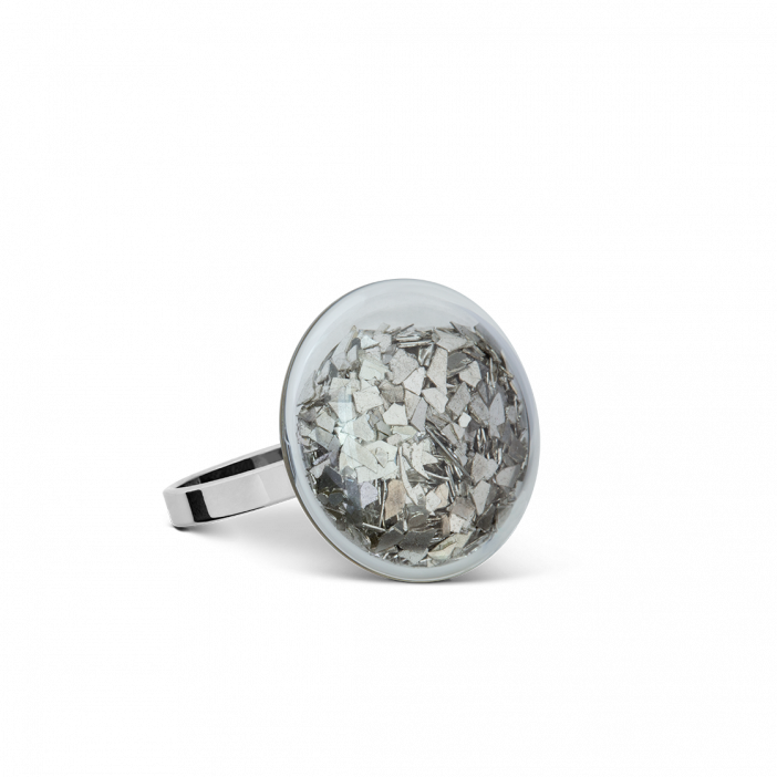 Glass ring - Galet Mini Paillettes Silver