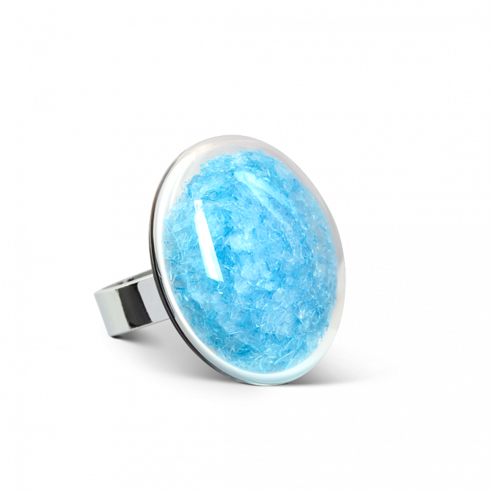 Glass ring - Galet Medium Paillettes Colors Light Blue