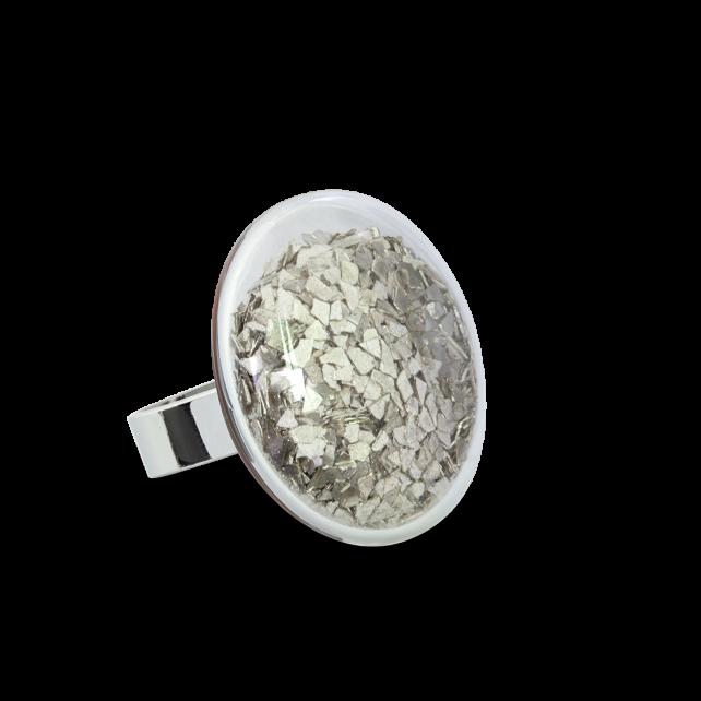 Bague en verre soufflée - Galet Medium Paillettes