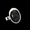 Galet Medium Paillettes - Bague en verre Noir