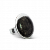 Galet Medium Paillettes - Glass ring Black