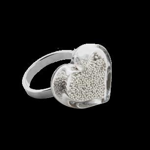 Glass ring - Coeur Nano Billes