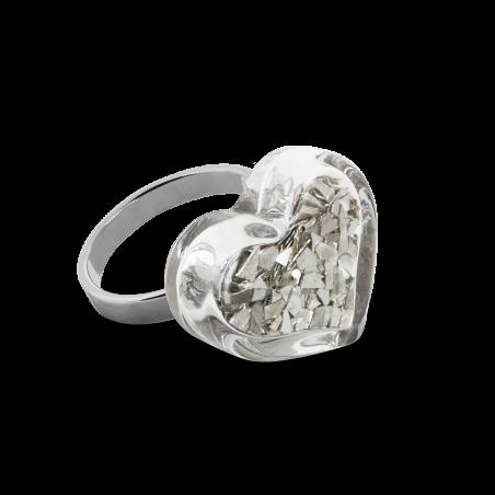 Glass ring - Coeur Nano Paillettes Silver