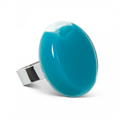 Bague en verre - Platine Medium Milk