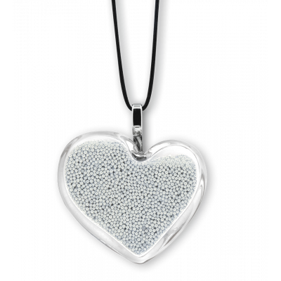 Necklace - Coeur Medium Billes Silver