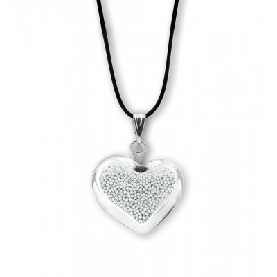 Necklace - Coeur nano billes Silver