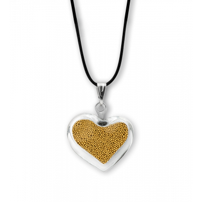 Necklace - Coeur nano billes Gold