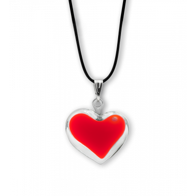 Necklace - Coeur nano milk Light red