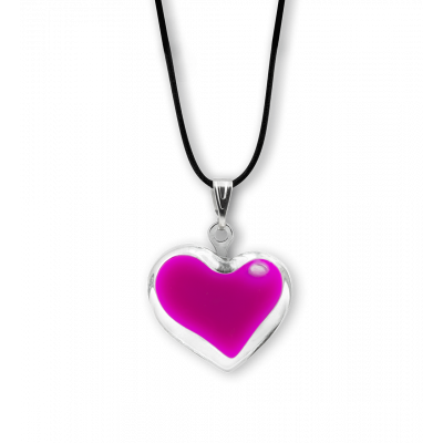 Necklace - Coeur nano milk Fuchsia
